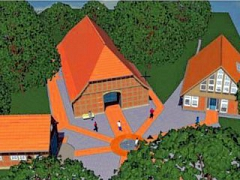 Der Neubau soll rechts neben Vogelers Haus (Mitte) entstehen.©Heimatverein Holtorf